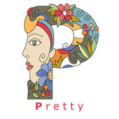 Decorative initial capital letter P with a face of pretty woman and decorative flowers Vector image