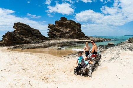 Family Holiday Beach Waters Rocky Headland Landscape