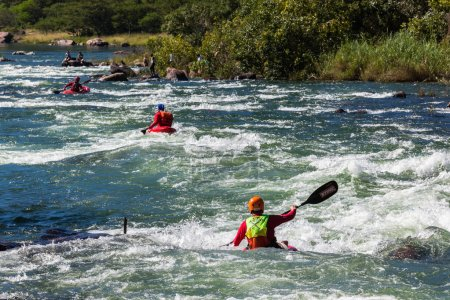 Kayaks River Rapids Action