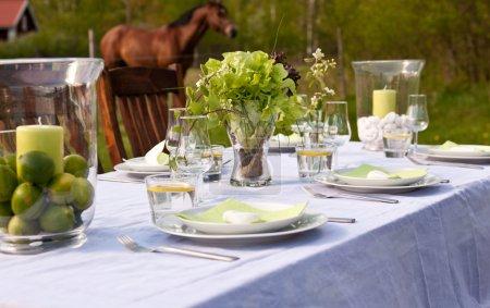 Photo pour Réglage de la belle table en plein air sur l'arrière-cour sur une journée d'été - image libre de droit