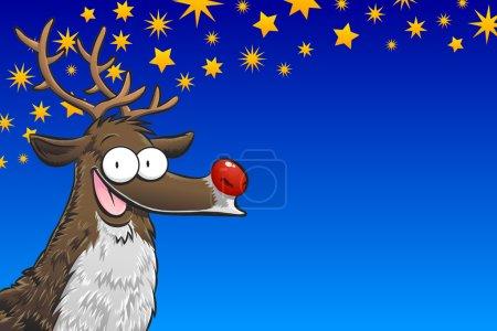 Rudolph, reindeer letter paper, postcard. Horizontal.