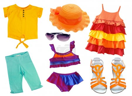 Summer clothing and accessories isolated on white. Kid clothes c