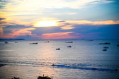 Sun set at Pattaya beach in Twilight time