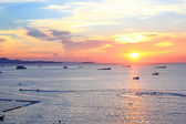Sun set at Pattaya beach in Twilight time, Thailand