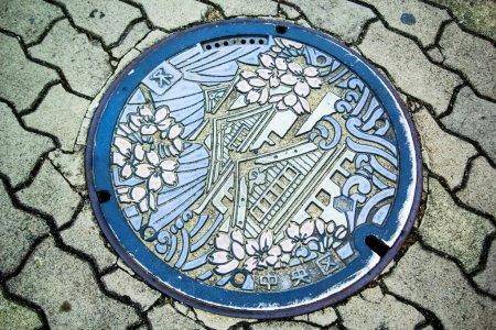 Osaka Castle on manhole cover of Osaka
