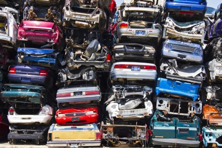 A Pile of Stacked Junk Cars
