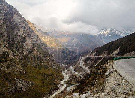 Road between the mountains in Tibet