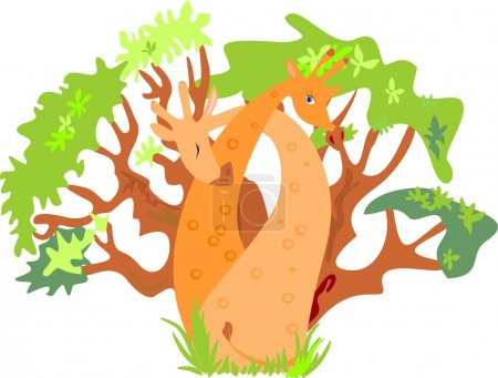 Illustration for Couple hug giraffes among the trees - Royalty Free Image