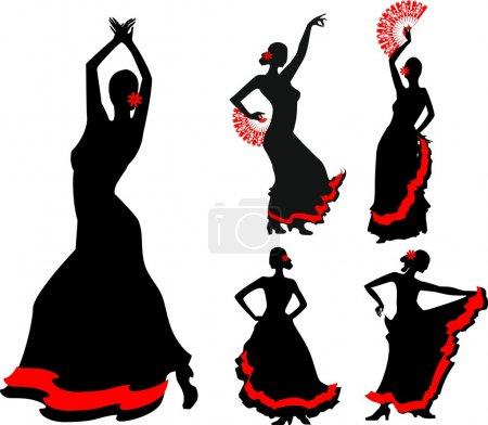 Illustration pour Cinq silhouettes de danseuse de flamenco - image libre de droit