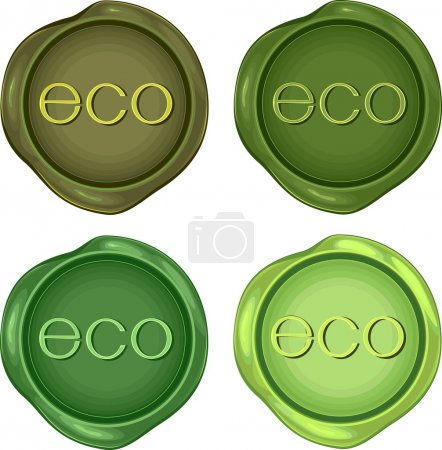 Set of green wax stamps for environmentally friendly products