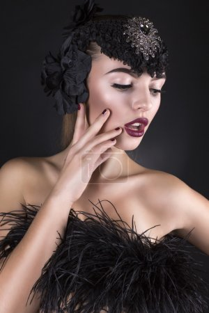 Beautiful model with black accessory
