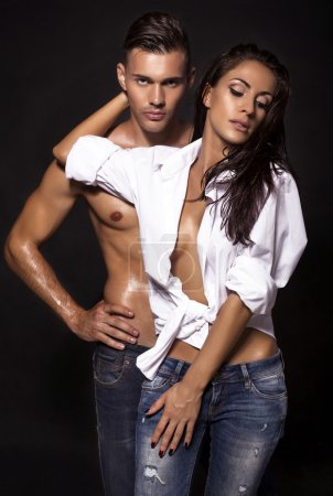 photo of sexy impassioned couple