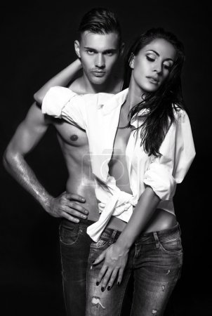 black and white photo of sexy couple