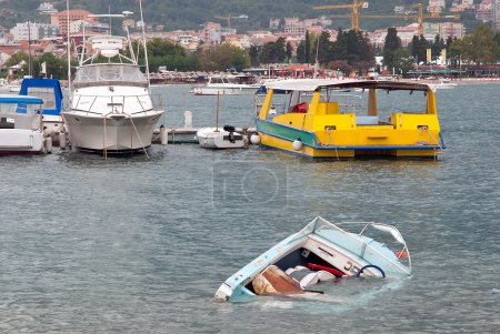 Badly tied motor boat gets sunken after a small storm