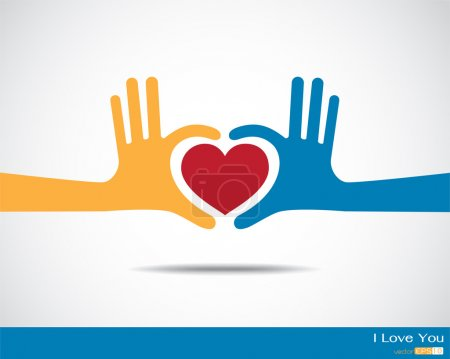 Illustration pour Mains en forme de cœur - image libre de droit