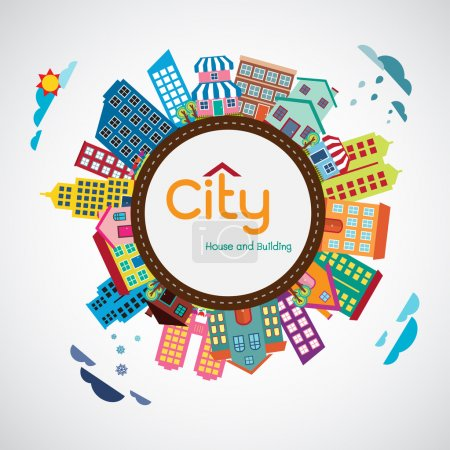 Illustration for City, House and building, Flat design vector Illustration - Royalty Free Image