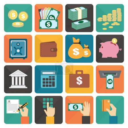 Finance and money flat design icon set
