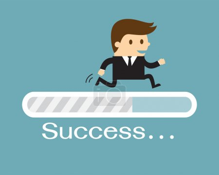 Businessman and progress loading bar, Success concept