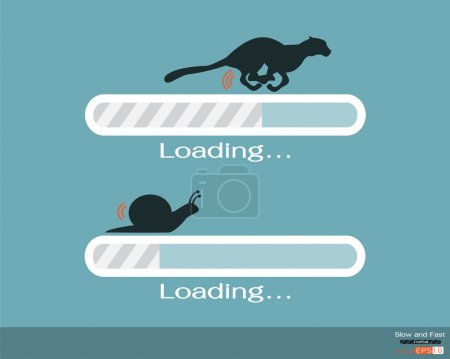 Illustration for Fast and slow progress loading bar - Royalty Free Image