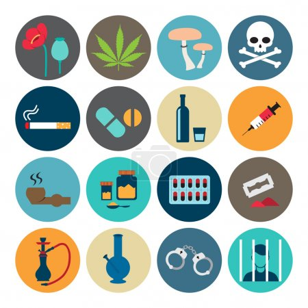 Narcotic drugs flat icon