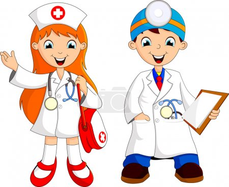 Photo for Two young doctor cartoon - Royalty Free Image