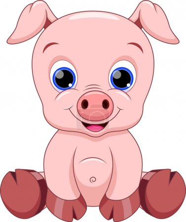 Illustration for Illustration of cute baby pig cartoon - Royalty Free Image