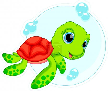Illustration for Illustration of a cute turtle cartoon - Royalty Free Image