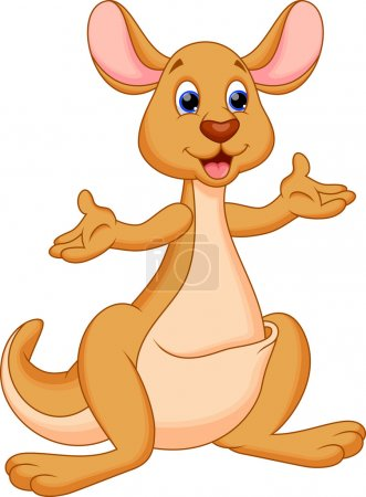Illustration for Illustration of a cute and adorable kangaroo cartoon - Royalty Free Image