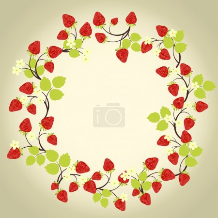 Strawberry frame on the beige background