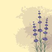 Lavender sprigs on the violet ink spots background
