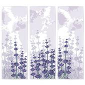 Lavender paper business cards with violet ink spots