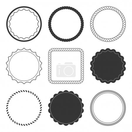 Illustration for Set of 9 design summer elements, frames, borders isolated on white background - Royalty Free Image