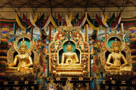 Buddha statues in a Tibetan monastery