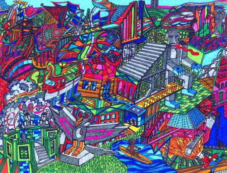 Photo for Very complex and colored drawing where many characters and structures compound an imaginary world. The drawing has been hand made by the photographer. - Royalty Free Image