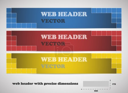 Web headers with precise dimensions, set of vector banners