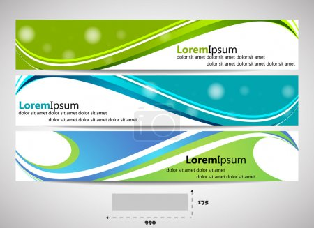 Web header with precise dimensions, set of vector banners
