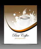 Template flyer with cup of coffee on the abstract background