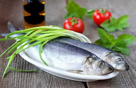 Salted herring with fresh green onion