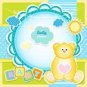 Carta di arrivo del bambino con orsacchiotto
