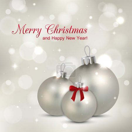 Elegant glimmered Christmas background with photorealistic silver balls and blurred bokeh lights