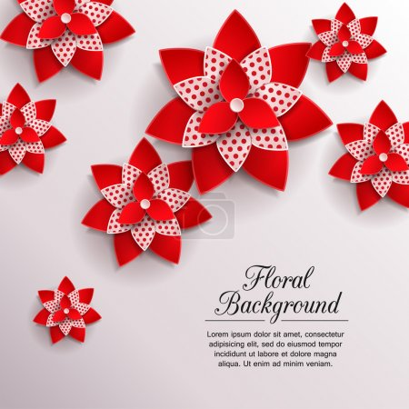 Illustration for Romantic background with 3d paper flowers and place for text. This vector illustration can be used as greeting card or wedding invitation. Modern photo realistic design. - Royalty Free Image