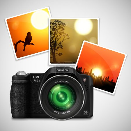 Modern realistic photo camera with green lens.