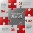 Infographics web design. Modern puzzle template. Numbered options. Vector illustration