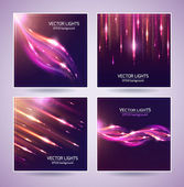 Set of Abstract bright cosmic backgrounds with blurred light rays Vector illustration