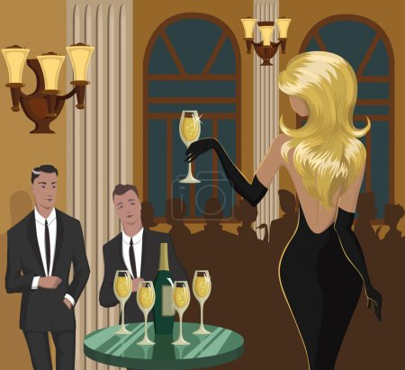 Illustration for Lady with a glass of champagne is flirting with men at the party. Vector illustration. Does not contain transparent objects and effects. Illustration is made on the basis of the sketch. - Royalty Free Image