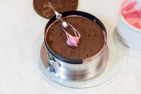 Photo pour Gâteau éponge au chocolat avec crème rose - image libre de droit