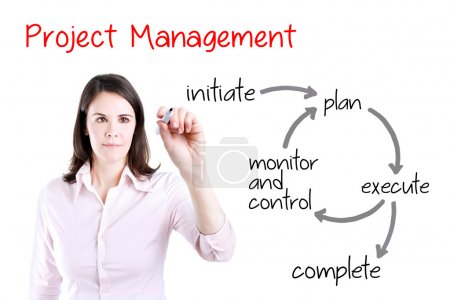 Young business woman writing project management workflow. Isolated on white.