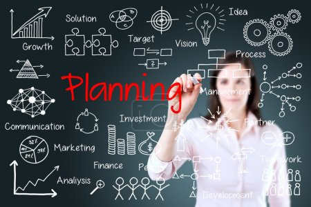 Young business woman writing planning concept