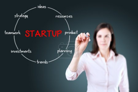 Startup circular structure diagram. Young businesswoman holding a marker and drawing a key elements for starting a new business.