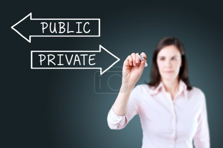Businesswoman drawing a Private or Public concept ...
